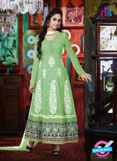 NS 12348 Green and White Party Wear Anarkali Suit