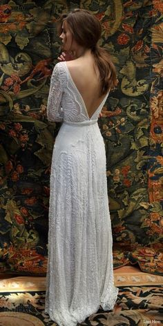 Open back vintage lace wedding dress 28