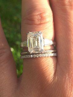 3 ct Leon Mege emerald three stone engagement ring.