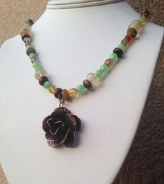 Copper Rose Necklace by HappyGirlJewels on Etsy, $38.00