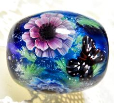 https://www.etsy.com/shop/AyakoGlassGarden new item for etsy Pink & Blue Double Poppy Anemone Flower with Butterfly Satake Glass Lampwork Round Flower Bead
