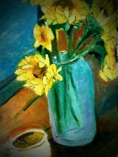 Sun flower (oil on canvas) Oil Canvas, Flower Oil, Charles Bukowski, Art Studies, Einstein, My Arts, Abstract, Art Work, Flowers