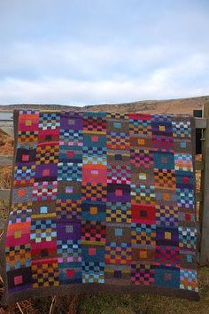 Another way to make squares to use up sock yarn?