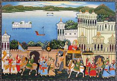 Royal Procession by the Lake of Udaipur (Miniature Painting on Silk Cloth - Unframed) Rajasthani Miniature Paintings, Rajasthani Painting, Rajasthani Art, Mughal Paintings, Indian Paintings, Art Paintings, Lake Painting, Silk Painting, Shivaji Maharaj Hd Wallpaper