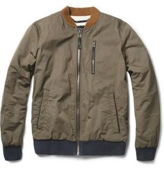 Jersey-Lined Leather-Trim Bomber Jacket