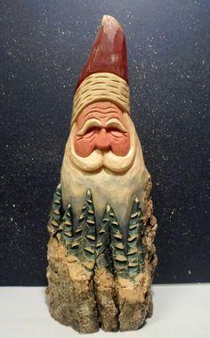 HAND CARVED original large Santa bust with trees by santaman2000