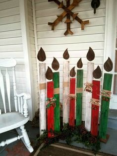 me ~ Reclaimed wood Christmas candles, holiday porch decor, standing Christmas decorations, candles, fire Christmas Candle Decorations, Christmas Wood Crafts, Pallet Christmas, Christmas Porch, Christmas Candles, Christmas Signs, Rustic Christmas, Christmas Projects, Holiday Crafts