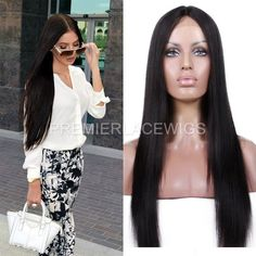 Long Lace Wig Middle Part Yaki straight Human Hair Lace Front Wigs  #Premierlacewigs #FullWig