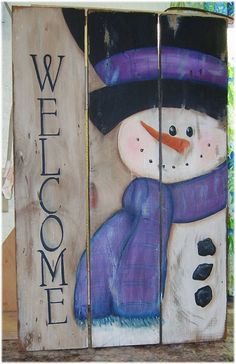Rustic Primitive Snowman Welcome Sign handpainted on reclaimed Old Barn Wood