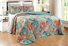 "Amazon.com: 3-Piece Fine Printed (90"" X 88"") Quilt Set Reversible Bedspread Coverlet (Double) Full Size Bed Cover (Turquoise, Blue, Orange Boho, Multi Floral): Home & Kitchen"