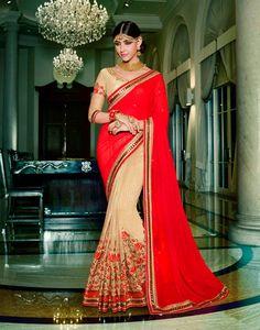 Red,Beige Georgette Half N Half Saree #georgette #wedding #viscose #resham #embroidery #Trendy #casual #sari #saree #WomenClothing #WomenWear #Designersari #stylishsari #nikvik #usa #designer #australia #canada #malaysia #UAE #freeshipping  Sign up and get USD100 worth vouchers.Price-US$119.08
