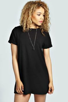 Anna Turn Back T-Shirt Crepe Shift Dress at boohoo.com