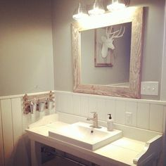 Boys bathroom after a good cleaning. #howdoesitgetsodirty #farmhousestyle magniolia farms vanity built by @ckharp