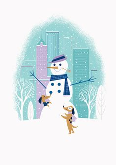 Tiffany & Co. Holiday - Cute #festive snowman #illustration - #christmas