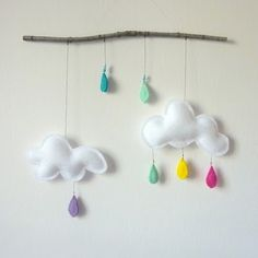 Adorable 3D clouds mobile - what a great idea for a little baby present :)