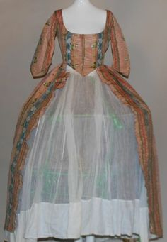RARE 18TH C 1770'S VIBRANT STRIPED FLORAL SILK OPEN ROBE GOWN W LINEN LINING