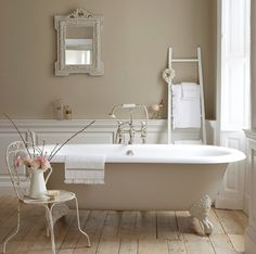 White And Beige Vintage Bathroom  Reclaimed Wood Floor, Vintage Chair, Claw  Foot Tub:).and I Donu0027t Even Need A Reclaimed Wood Floor