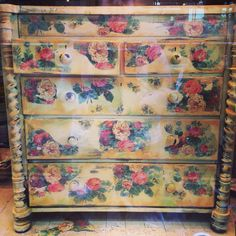 Oak chest of drawers with transfer original French vintage wallpaper transfer over Cream, Arles, Emperors Silk and Antibes. By Deborah at Tea & Roses. x