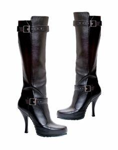 """Black Knee High Boots Buckle Detail 1/2"""" Platform 4.5"""" Heels 423-Anarchy 9 M NIB #EllieShoes #KneeHighBoots #Casual"""
