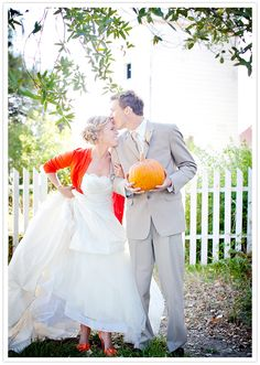 I love her bright cardigan and shoes!  Lots of great fall details in this wedding!