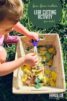 Want to encourage scissor skills using nature-inspired elements? Your kids will love this low-prep fine motor leaf cutting activity! Cutting Activities For Kids, Fine Motor Activities For Kids, Outdoor Activities For Kids, Autumn Activities, Hands On Activities, Infant Activities, Preschool Activities, Nature Activities, Kindergarten Learning