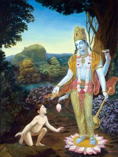 This is the pastime of Dhruva Maharaja who, upon being insulted by his step mother left for the forest to find the Lord at the tender age of five. After practicing meditation and severe austerities for five months, Dhruva achieved full concentration on Lord Vishnu. Then the Lord Himself came to see him from His spiritual abode in Vaikuntha.