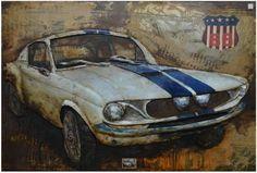 Schilderij metaal Klassieke auto Origineel 3D wanddecoratie metalen schilderijen. gemaakt van metaal en verf Zijkanten mee geschilderd Direct op te hangen- ophangsysteem meegeleverd Wanddecoratie ...