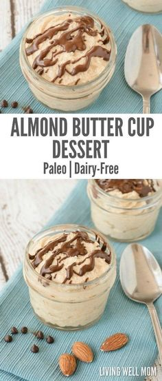 Almond Butter Cup Dessert - Just 5 Minutes to Make! Almond Butter Cup Dessert - Just 5 Minutes to Make!<br> If you love peanut butter cups, you're going to love this healthier Almond Butter Cup Dessert that takes just 5 minutes to whip up! Sugar Free Desserts, Paleo Dessert, Healthy Sweets, Delicious Desserts, Dessert Recipes, Easy Desserts, Cup Desserts, Dessert Bread, Homemade Desserts