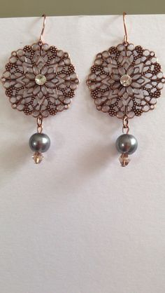 copper filigree pearldrop earrings:)