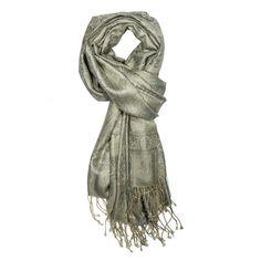 Silver Gray Jamavar Silk Scarf