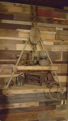 Pulley shelf made by Michael Pennetta Plant Shelves, Hanging Shelves, Hook And Tackle, Nautical Lighting, Rustic Industrial Decor, Hanging Table, Table Vintage, Pulley, Country Chic