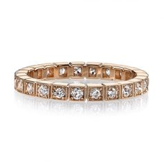 0.62ctw old European cut diamonds set in a handcrafted 18k rose gold eternity band. Prices may vary according to total diamond weight.