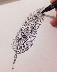 Line work, Steampunk & feather - seriously, what's...