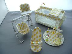 1/12th scale 5 piece nursery set , yellow ducklings. £80.00, via Etsy.