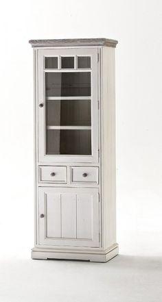 Weiße Vitrine L Loop mit Glastür #weiß #möbel #wohnzimmer #vitrine ...