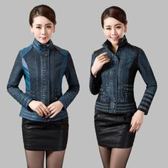 2015 Autumn Winter New Denim Patchwork Leather Jacket Women Faux Leather Jackets Ladies Denim Coat Girl Jacket Plus Size