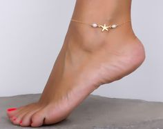 Anklet Ankle Bracelet Beach Foot Jewelry Starfish Anklet Pearl