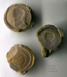 molds for counterfeit coins, 2nd to 3rd c., Musée de Normandie de Caen