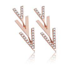 EF Collection Flying V ear studs in 14k rose gold with diamonds; $695 #EFCollection #rosegold #diamonds @EF COLLECTION