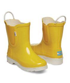 Look at this #zulilyfind! Yellow & White Rubber Rain Boot - Youth #zulilyfinds