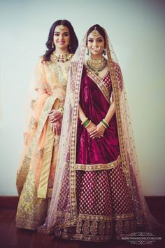 Bridal Wear - Bride in a Velvet Marsala Lehenga with Double Dupatta | WedMeGood #wedmegood #indianbride #indianwedding #lehenga #bridal #bridalwear #weddinglehenga