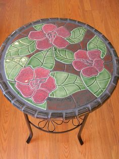 Handcut Tile Table with Hibiscus Flowers by moonflowerartjewelry, $325.00