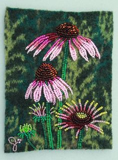 Large photo of Coneflower 2 Indian Beadwork, Native Beadwork, Seed Bead Flowers, Beaded Flowers, Diy Bead Embroidery, Hand Embroidery, Jo Wood, Seed Bead Art, Beads Pictures