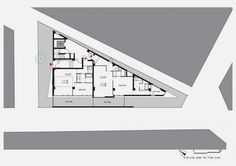 second floor plan of Modern and Thin Triangular Building in Wedge ...