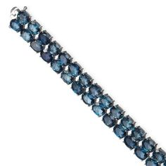 Topas-Rivière-Bracelet Silber 925 Bracelet bestehend aus 2 Reihen ovaler, facettierter Topasen (be — Schmuck
