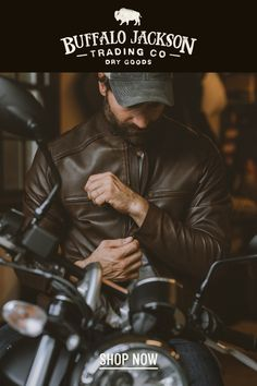 This vintage style brown leather jacket gives any outfit a classic rugged aesthetic. Keep it classy and casual — the more you wear this moto /racer jacket, the better it looks and feels. Great gift for men! Vintage Inspired, Vintage Style, Vintage Fashion, Men's Leather, Brown Leather, Resale Store, Great Gifts For Men, Keep It Classy, Leather Jackets
