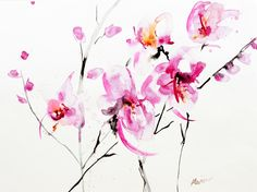 "Saatchi Online Artist: Karin Johannesson; Watercolor, 2010, Painting ""Orchids 3"""