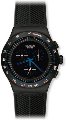 Swatch Men's YOB103 Stainless Steel Black Dial Chronograph Watch Swatch. $185.00. Quartz movement. Durable mineral crystal protects watch from scratches,. Water-resistant to 30 M (99 feet). Case diameter: 47 mm. Chronograph watch. Save 18%!