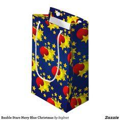#Bauble #Stars Navy Blue #Christmas Small #Gift #Bag