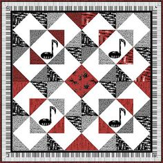 """Hancocks of Paducah - Alea? Windham Fabrics All That Jazz Quilt featuring Let There Be Music fabrics. 54"""""""
